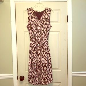 Banana republic maroon patterned button up dress!